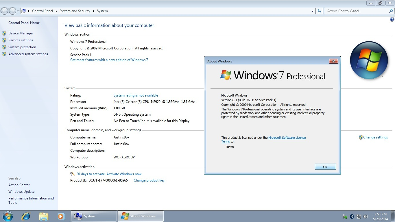 product key for windows 7 build 7601